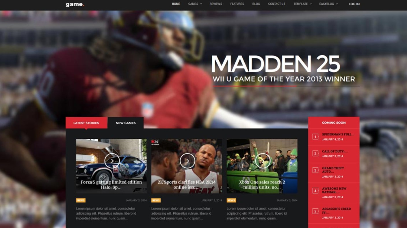 game joomla template
