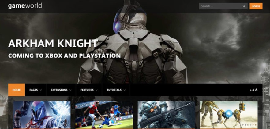 Gaming Joomla template upgraded for Joomla 3.9.2
