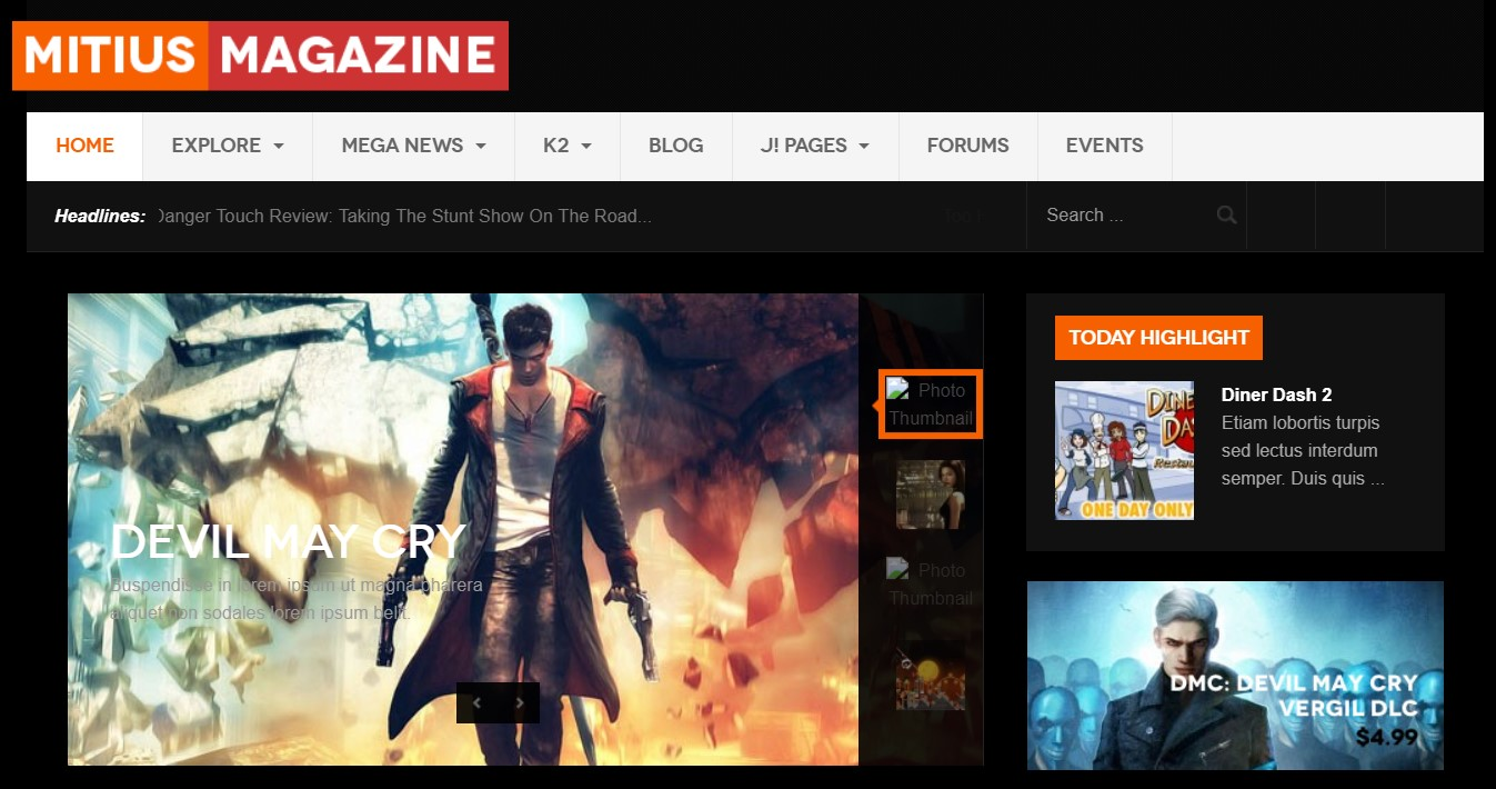Joomla Template for Gaming, Gaming Magazines, Gaming Review