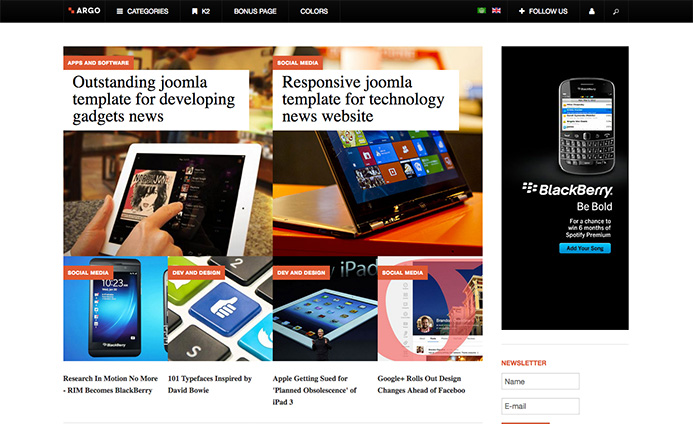 news and magazine joomla template - ja Argo