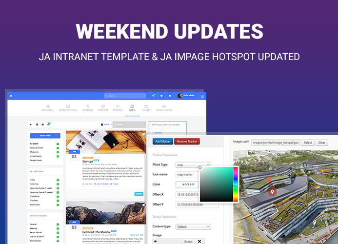 JA Intranet Joomla template and JA Image Hotspot module updated for Joomla 3.9 and bug fixes