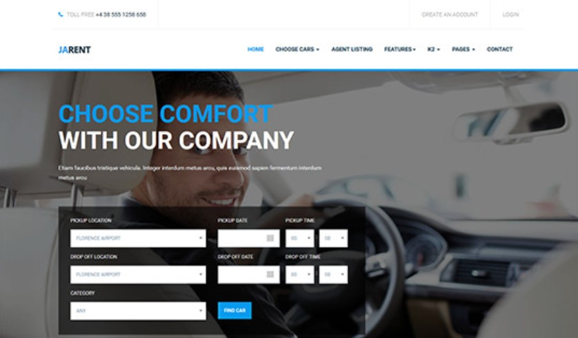Responsive Joomla template for Vehicles Rental Service