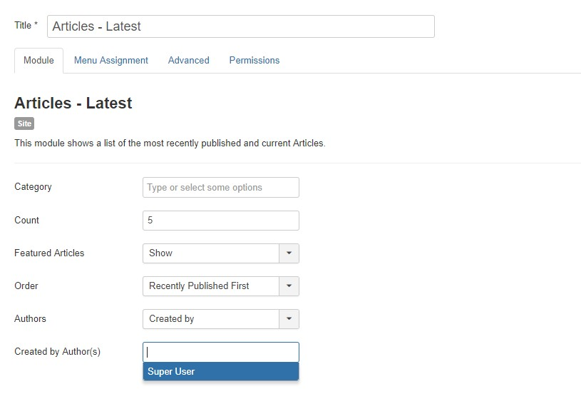 Joomla 3.9 Article Latest Module