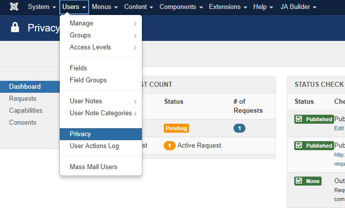 Joomla 3.9 new feature - privacu suit