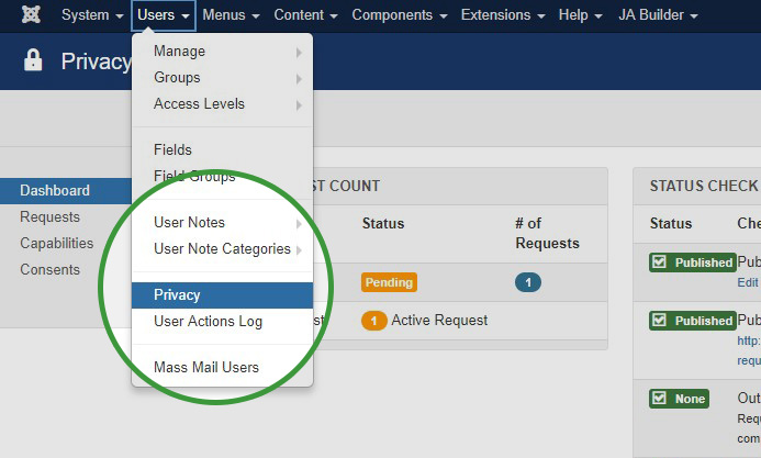 Joomla 3.9 Manage Privacy data and Requests