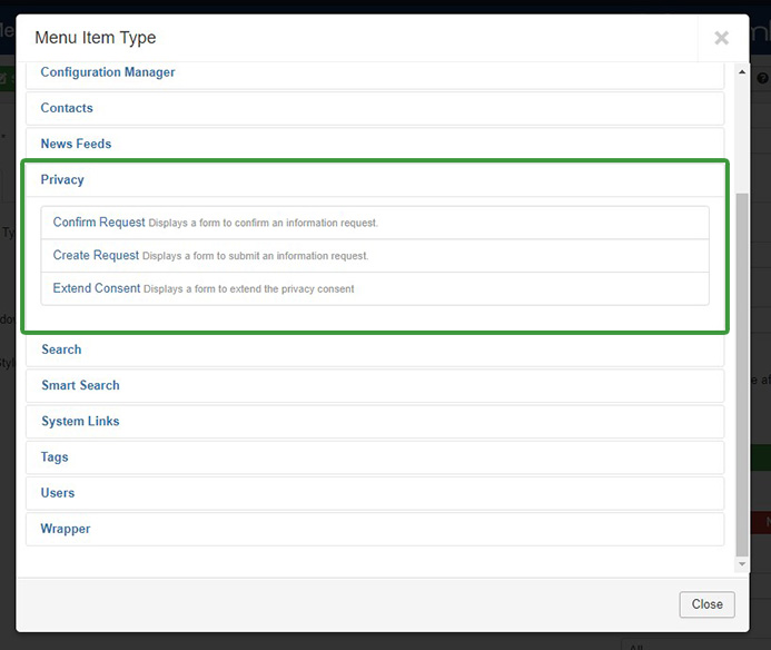 Joomla 3.9 Privacy Menu