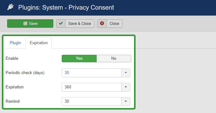 Joomla 3.9 privacy consent options