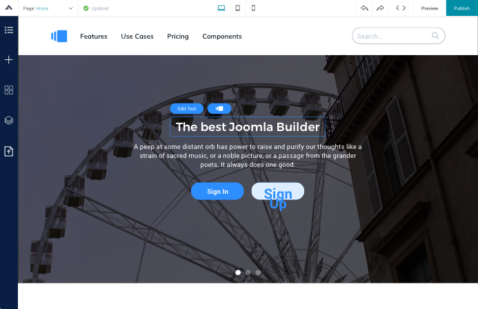 Update text in Joomla page builder