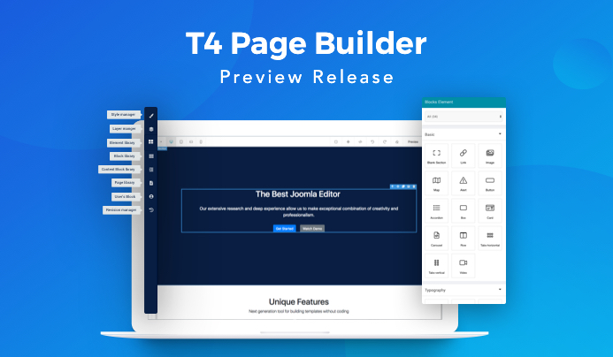 T4 Joomla page builder preview released. Free download