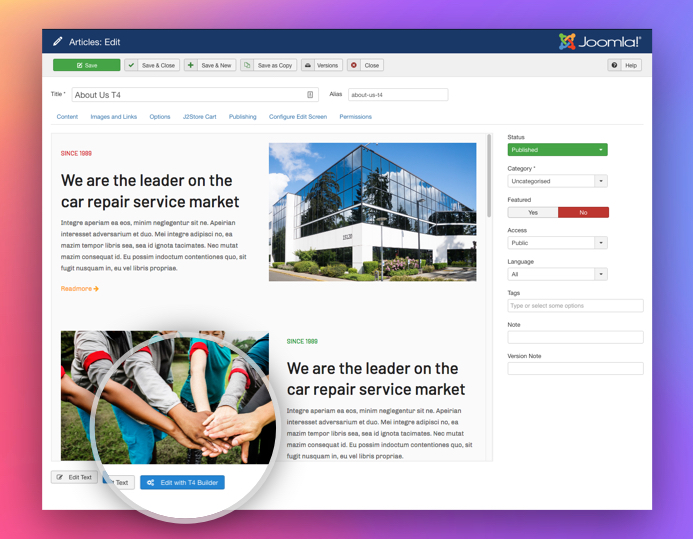 edit joomla article with T4 Joomla page builder