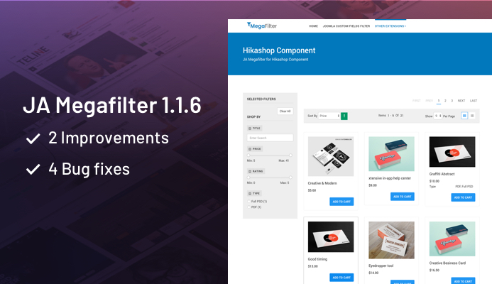 JA Megafilter Joomla search and filter extension updated with 2 improvements and 4 bug fixes