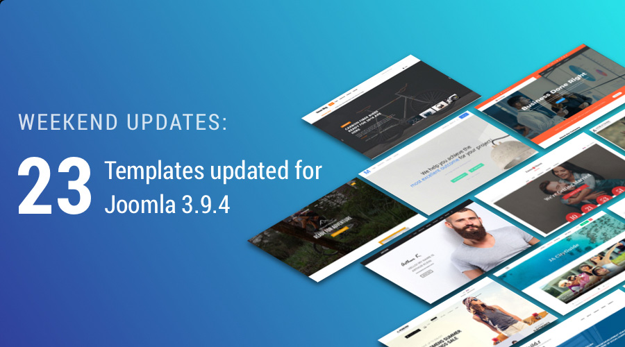 23 Joomla templates updated for Joomla 3.9.4
