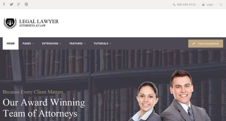 Legal Lawyer Joomla template upgraded for Joomla 3.9