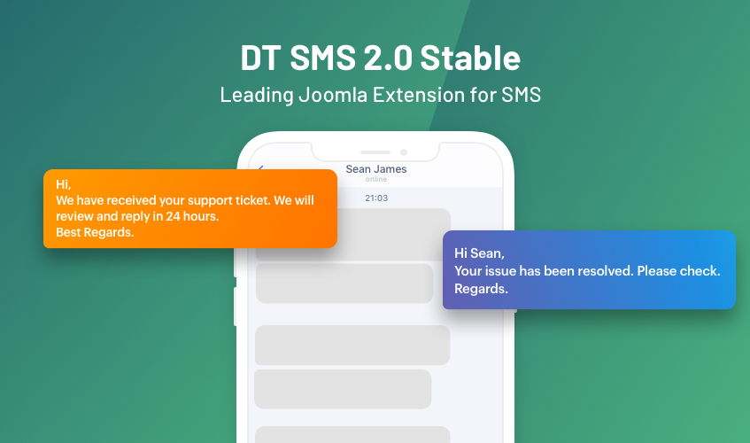 DT sms Joomla automate sms extension