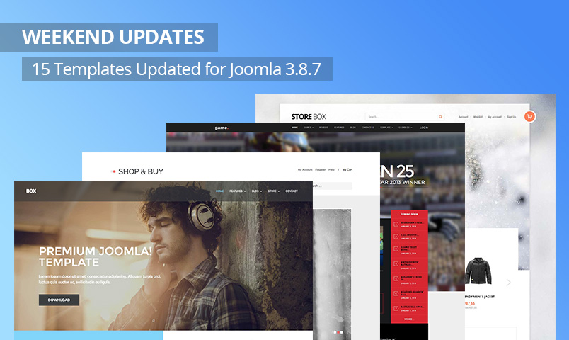 Weekend Updates: 15 Joomla templates updated for Joomla 3.8.7