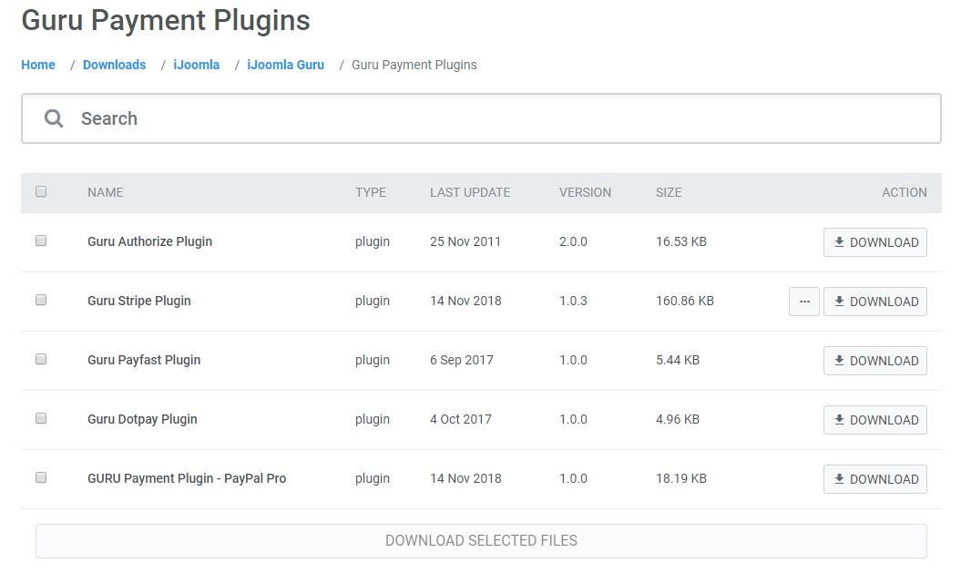 Joomla LMS Extension - Guru payment plugins