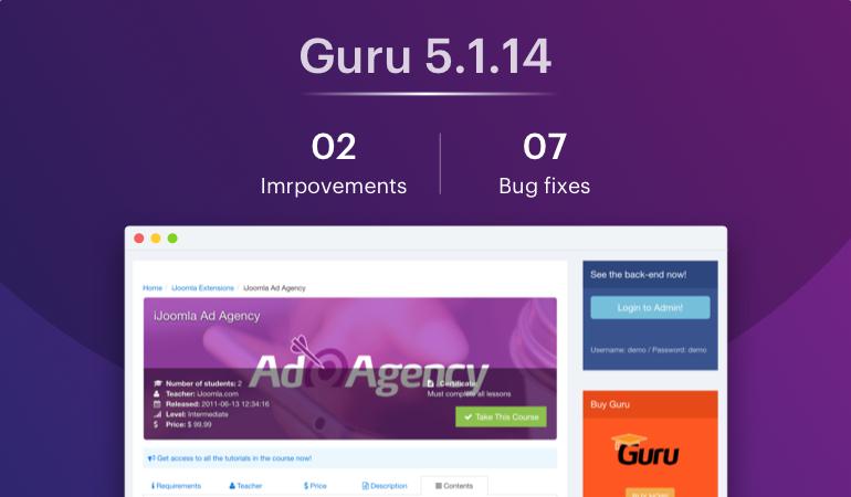 Joomla LMS extension - Guru update