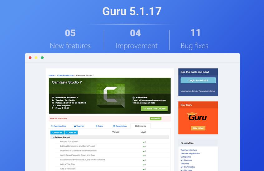 guru 5.1.17 updates released