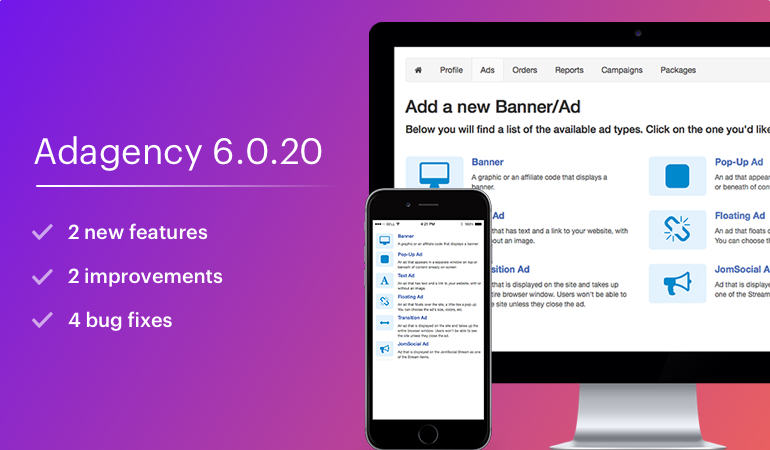 Ad Agency 6.0.20 updated or new features, improvements and a bug fix
