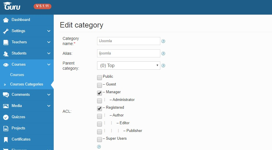 Joomla LMS Extension Guru access level