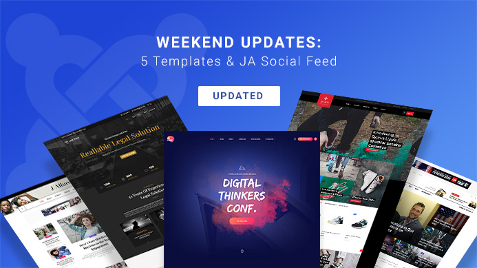5 joomla templates and ja social feed plugin updated