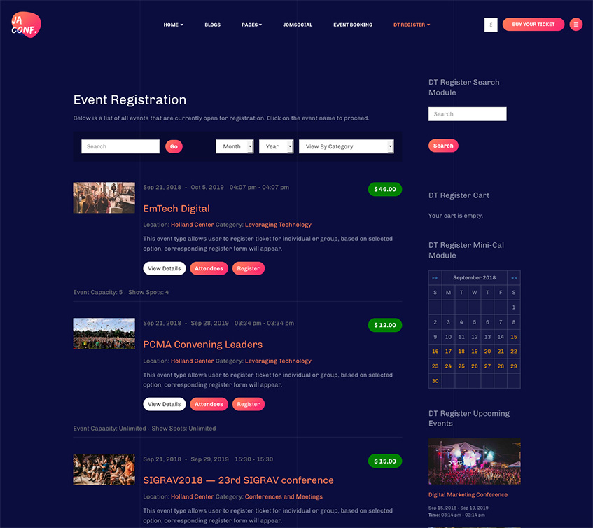 Dt register joomla event registration extension 403 updated for joomla event booking template ja conf maxwellsz