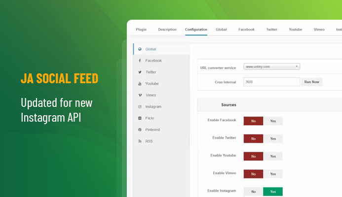 JA Joomla social feed extension updated