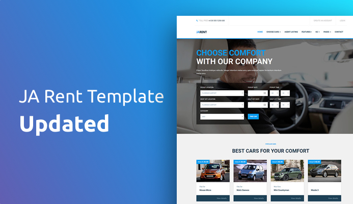 JA Rent Joomla template updated for Vik Rent Car 1.12 support