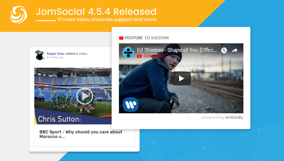 Jomsocial 4 5 4 major release for 17 more video channels support