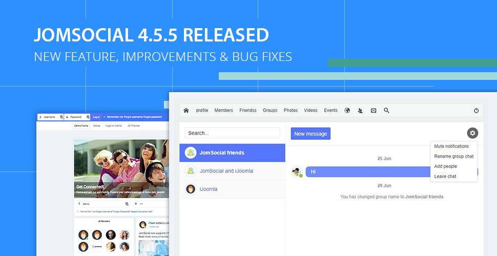 JomSocial 4.5.5 release for new features improvements and bug fixes