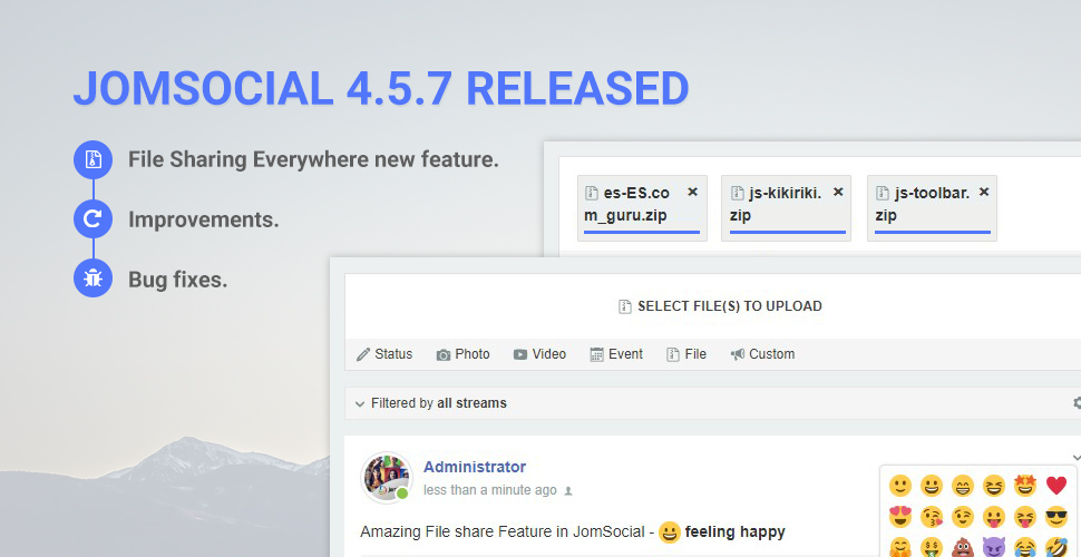 JomSocial 4.5.7 release for new features improvements and bug fixes