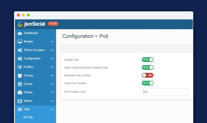 Jomsocial 4.5.9 Poll settings