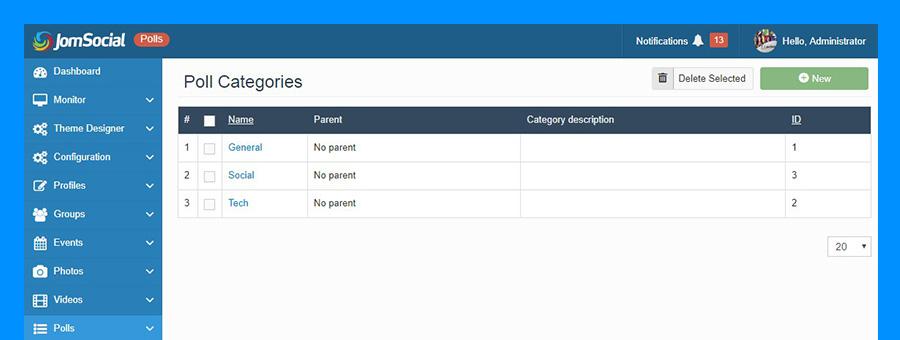poll categories  in jomsocial