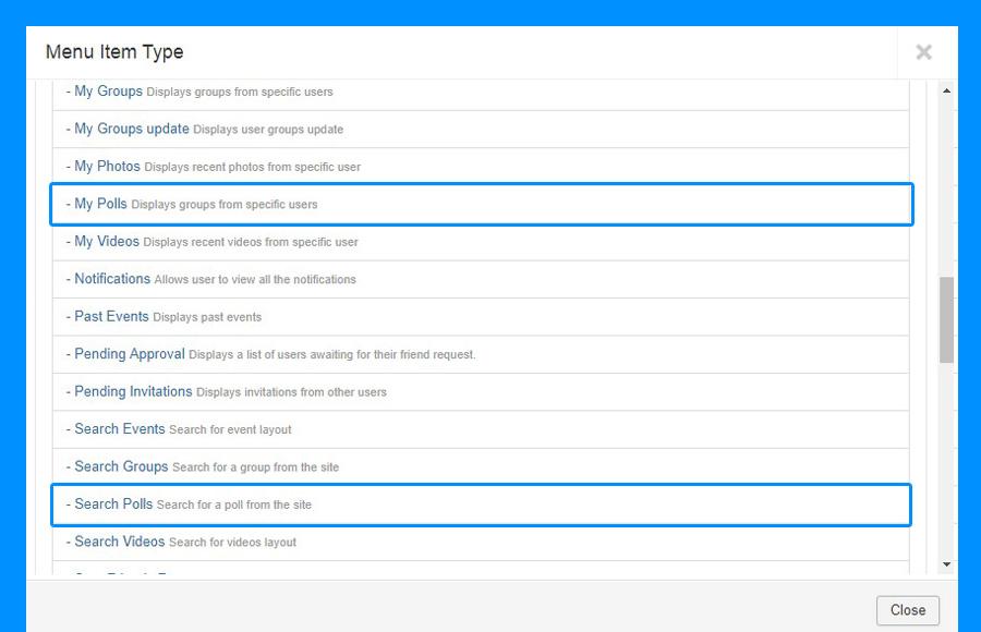 poll menu in jomsocial