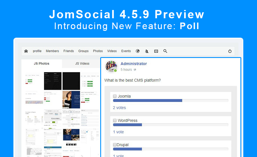 JomSocial 4.5.9 preview for new feature : poll