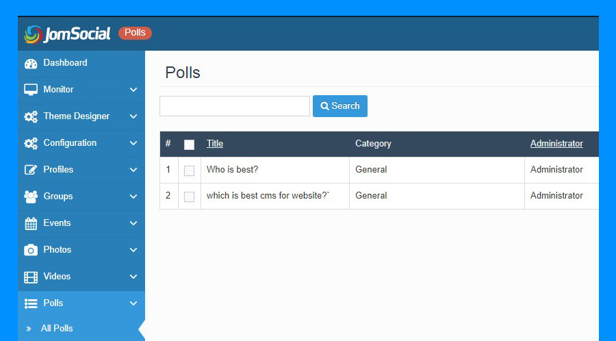 poll options in jomsocial