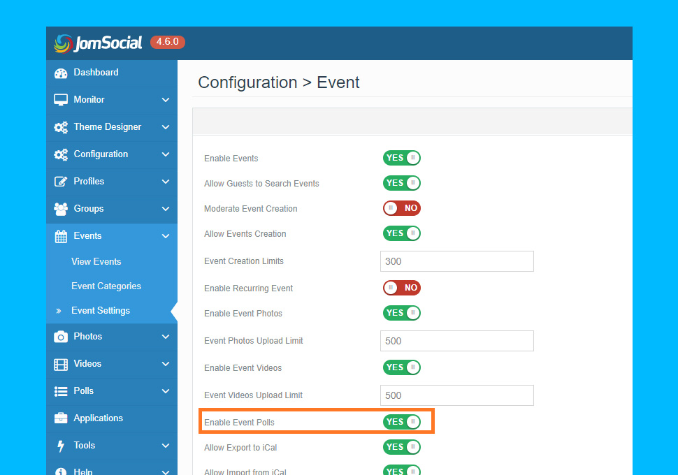 JomSocial 4.6.0 event settings for poll