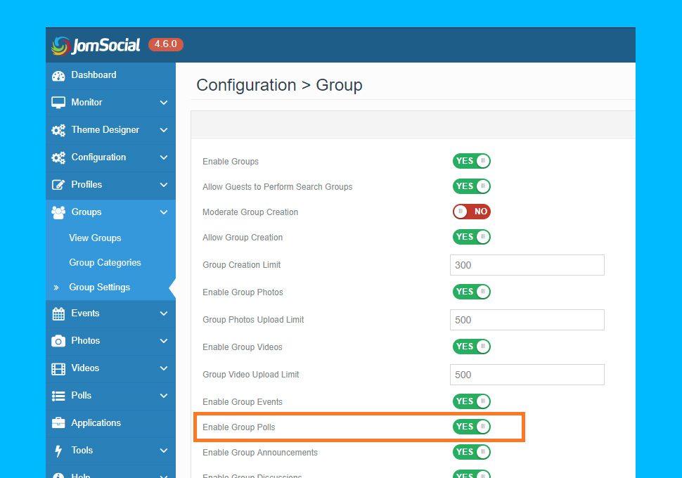 JomSocial 4.6.0 enable Poll for Group