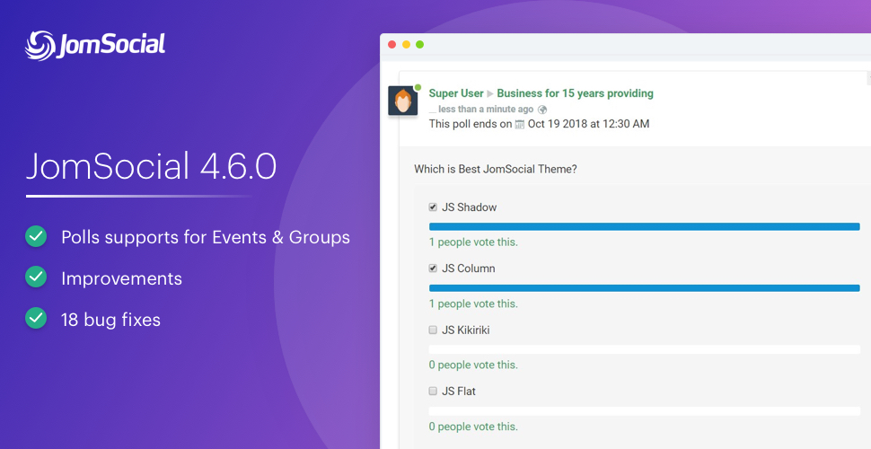 JomSocial 4.6.0 release for a new feature improvements and bug fixes