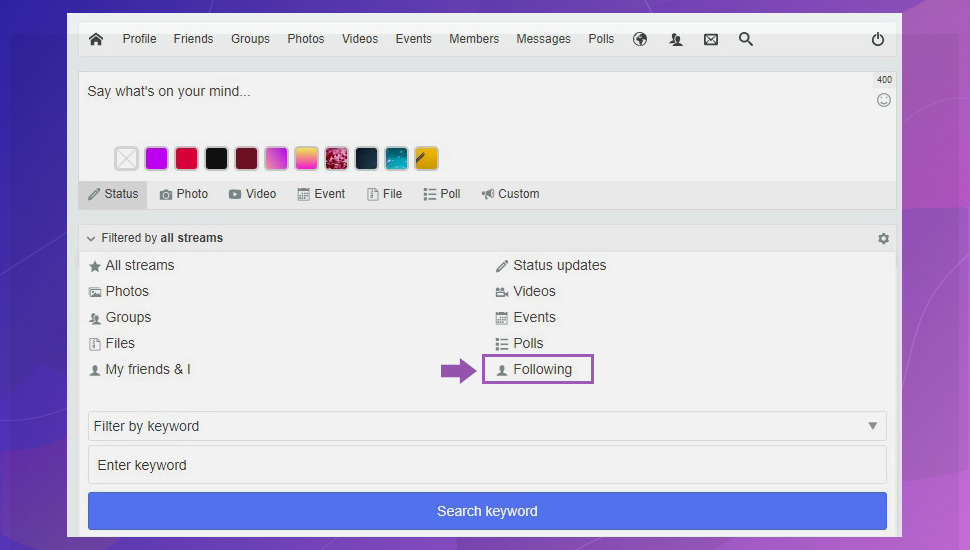 JomSocial 4.7.0 frontepage following filter