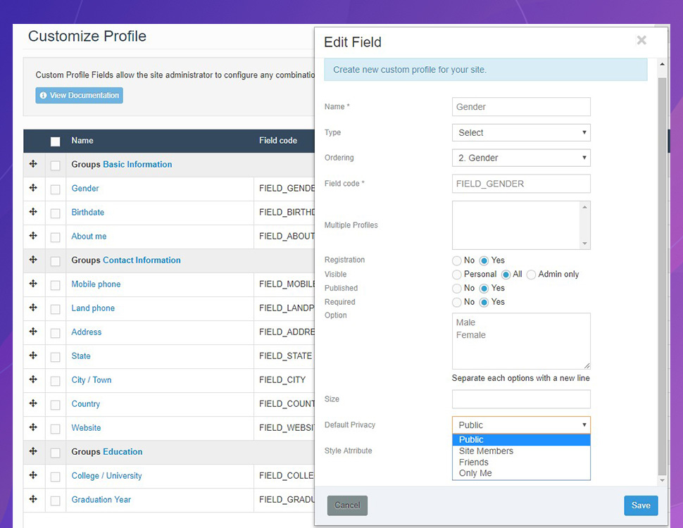 JomSocial 4.7.0 privacy setting for registration fields