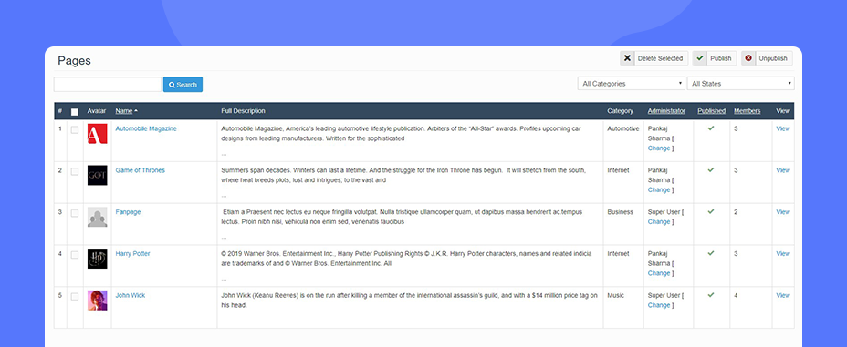 JomSocial 4.7.1 view pages on admin