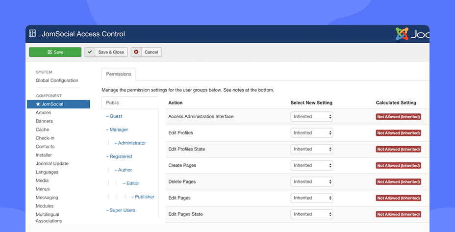 JomSocial 4.7.1 pages ACL permission settings