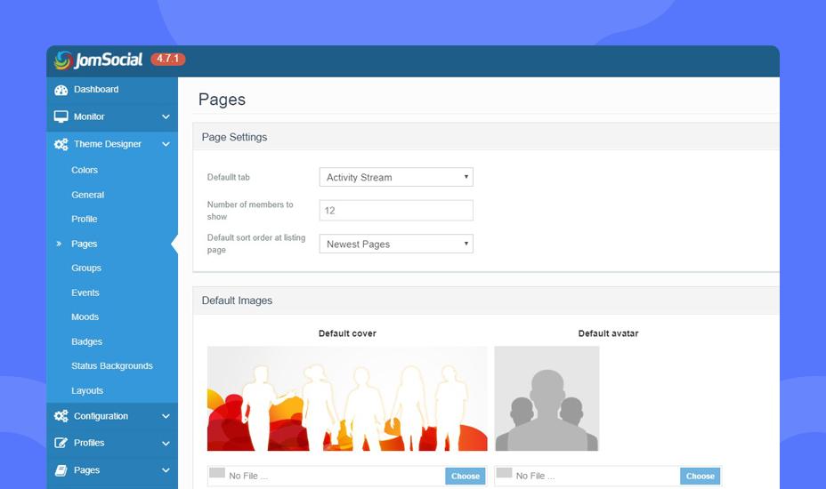 JomSocial 4.7.1 page theme designer settings