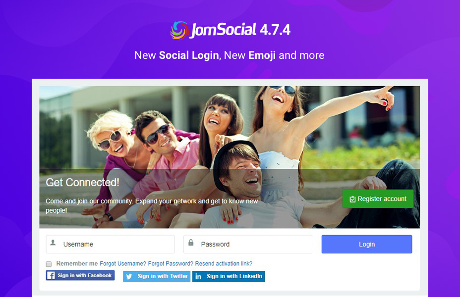 jomsocial Joomla social community extension 4.7.4 released for new emoji and new social login