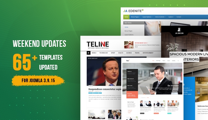 Weekend Updates: 65+ Joomla templates updated for Joomla 3.9.15