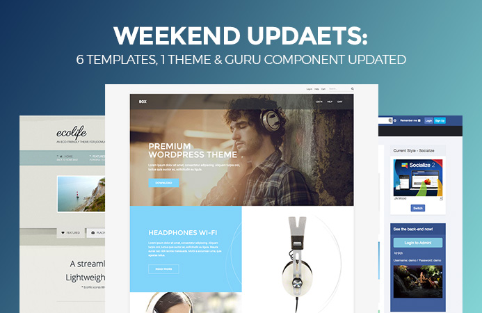 Weekend Updates: 6 templates,1 theme and Guru component updated