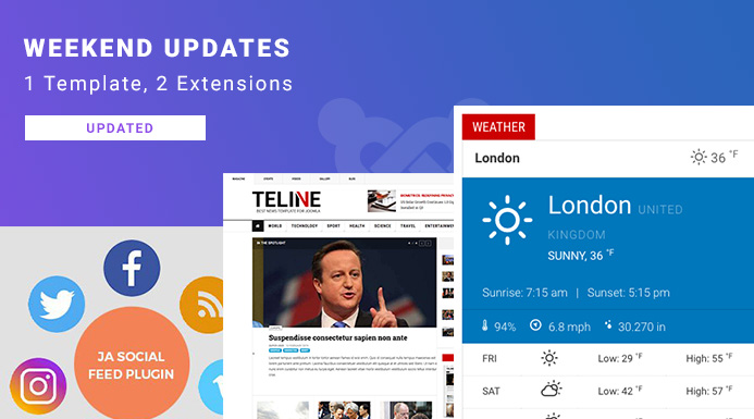 Weekend Updates: JA Teline V template and 2 extensions updated