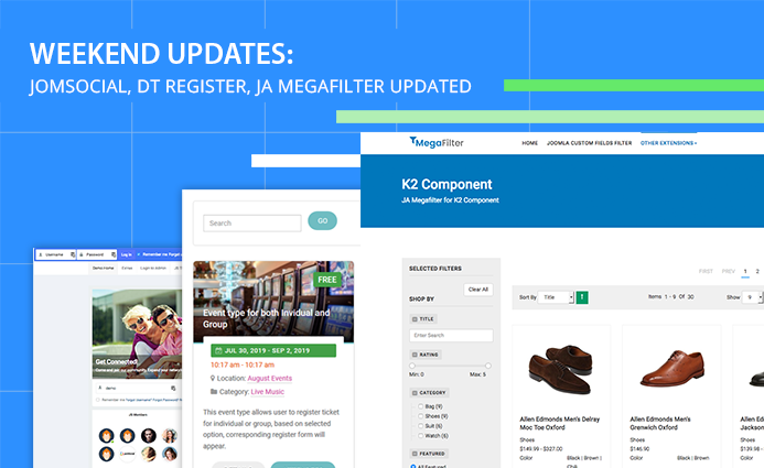 Weekend Updates: JomSocial, DT Register, JA Megafilter updated and more
