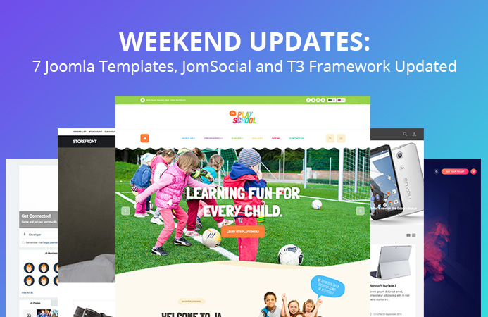 Weekend Updates: 7 Joomla templates, Jomsocial and T3 Framework updated
